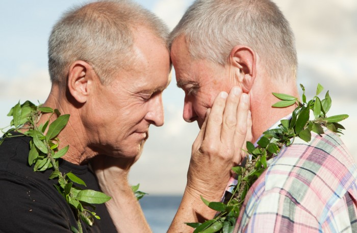 Same sex marriage foreheads touching MiraMira Kauai Events